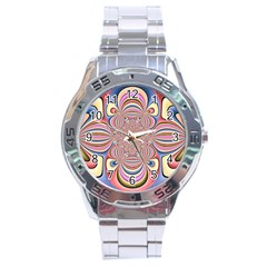 Pastel Shades Ornamental Flower Stainless Steel Analogue Watch