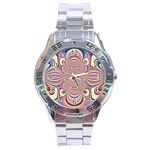 Pastel Shades Ornamental Flower Stainless Steel Analogue Watch Front
