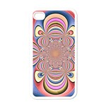 Pastel Shades Ornamental Flower Apple iPhone 4 Case (White) Front