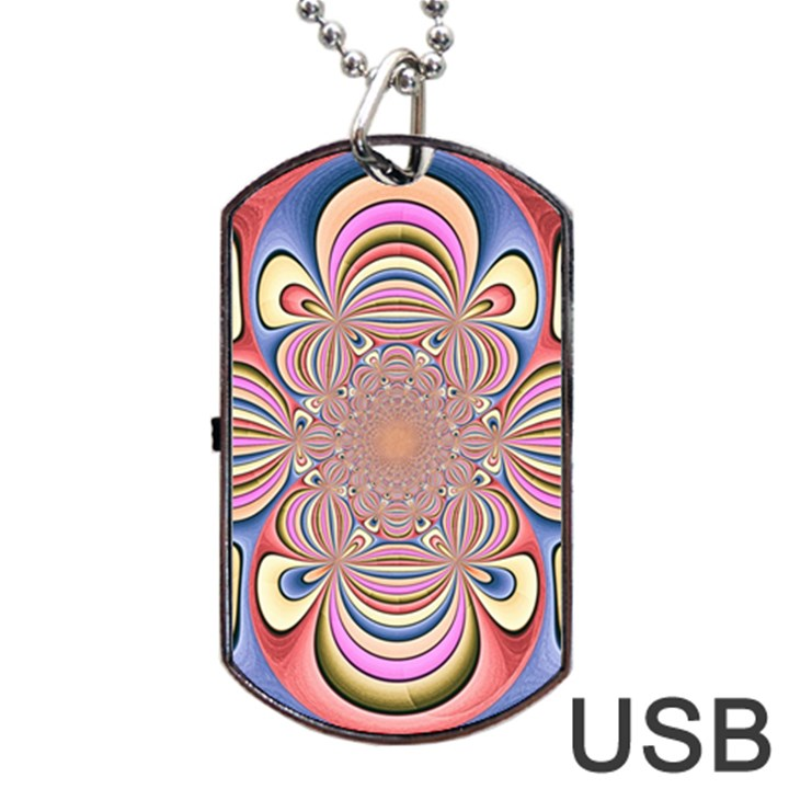 Pastel Shades Ornamental Flower Dog Tag USB Flash (One Side)