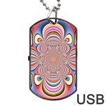 Pastel Shades Ornamental Flower Dog Tag USB Flash (Two Sides)  Front