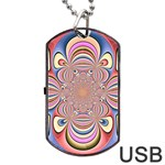 Pastel Shades Ornamental Flower Dog Tag USB Flash (Two Sides)  Back
