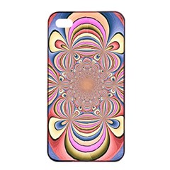 Pastel Shades Ornamental Flower Apple iPhone 4/4s Seamless Case (Black)