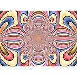 Pastel Shades Ornamental Flower Peace Sign 3D Greeting Card (7x5) Back
