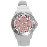 Pastel Shades Ornamental Flower Round Plastic Sport Watch (L) Front