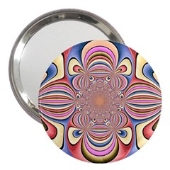 Pastel Shades Ornamental Flower 3  Handbag Mirrors