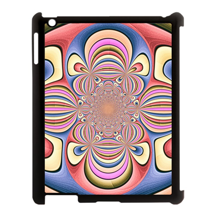 Pastel Shades Ornamental Flower Apple iPad 3/4 Case (Black)