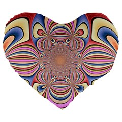 Pastel Shades Ornamental Flower Large 19  Premium Heart Shape Cushions