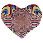 Pastel Shades Ornamental Flower Large 19  Premium Heart Shape Cushions Front