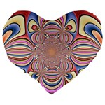 Pastel Shades Ornamental Flower Large 19  Premium Heart Shape Cushions Back