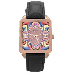 Pastel Shades Ornamental Flower Rose Gold Leather Watch