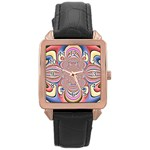 Pastel Shades Ornamental Flower Rose Gold Leather Watch  Front