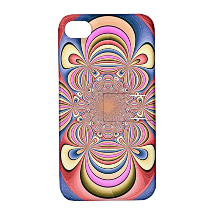 Pastel Shades Ornamental Flower Apple iPhone 4/4S Hardshell Case with Stand