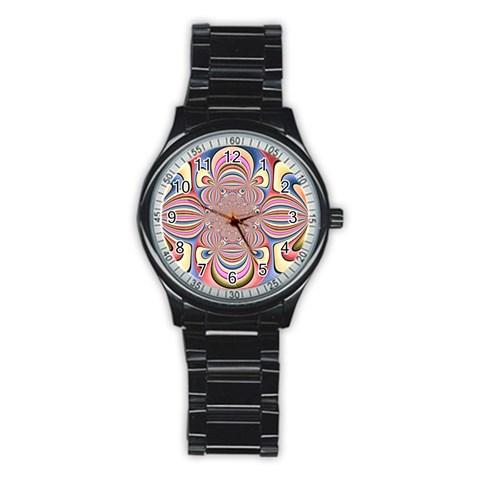 Pastel Shades Ornamental Flower Stainless Steel Round Watch