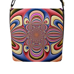 Pastel Shades Ornamental Flower Flap Messenger Bag (l)