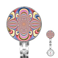 Pastel Shades Ornamental Flower Stainless Steel Nurses Watch