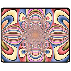 Pastel Shades Ornamental Flower Double Sided Fleece Blanket (Medium)
