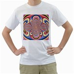 Pastel Shades Ornamental Flower Men s T-Shirt (White)  Front