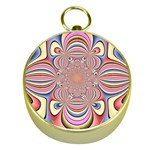 Pastel Shades Ornamental Flower Gold Compasses Front