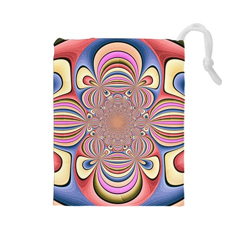 Pastel Shades Ornamental Flower Drawstring Pouches (Large)