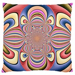 Pastel Shades Ornamental Flower Large Flano Cushion Case (two Sides)