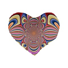 Pastel Shades Ornamental Flower Standard 16  Premium Flano Heart Shape Cushions