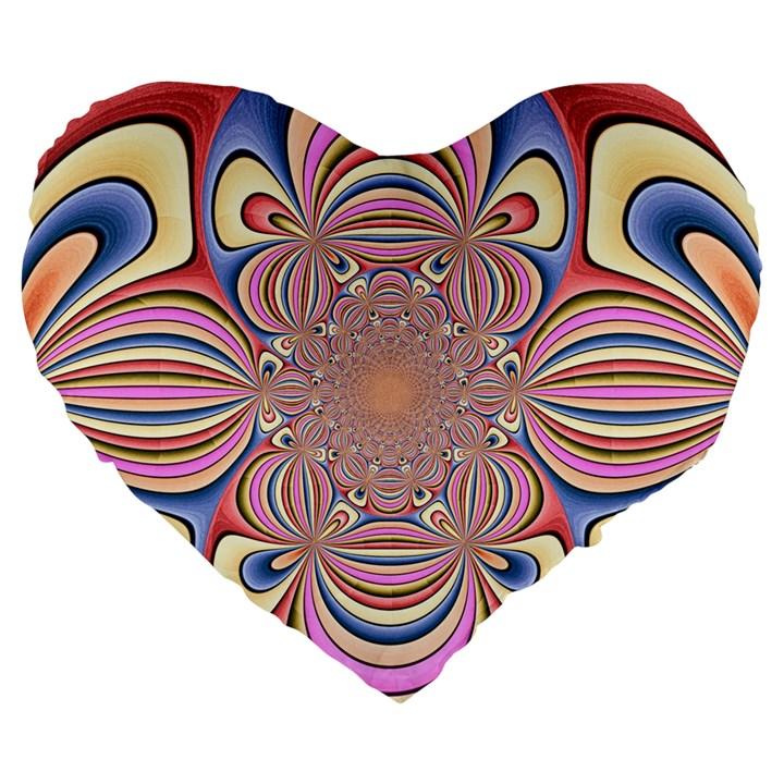 Pastel Shades Ornamental Flower Large 19  Premium Flano Heart Shape Cushions
