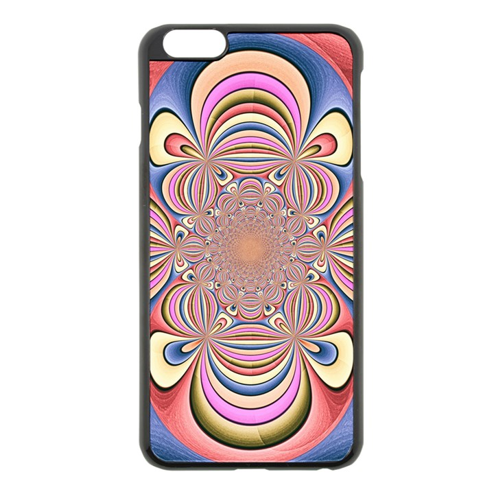 Pastel Shades Ornamental Flower Apple iPhone 6 Plus/6S Plus Black Enamel Case