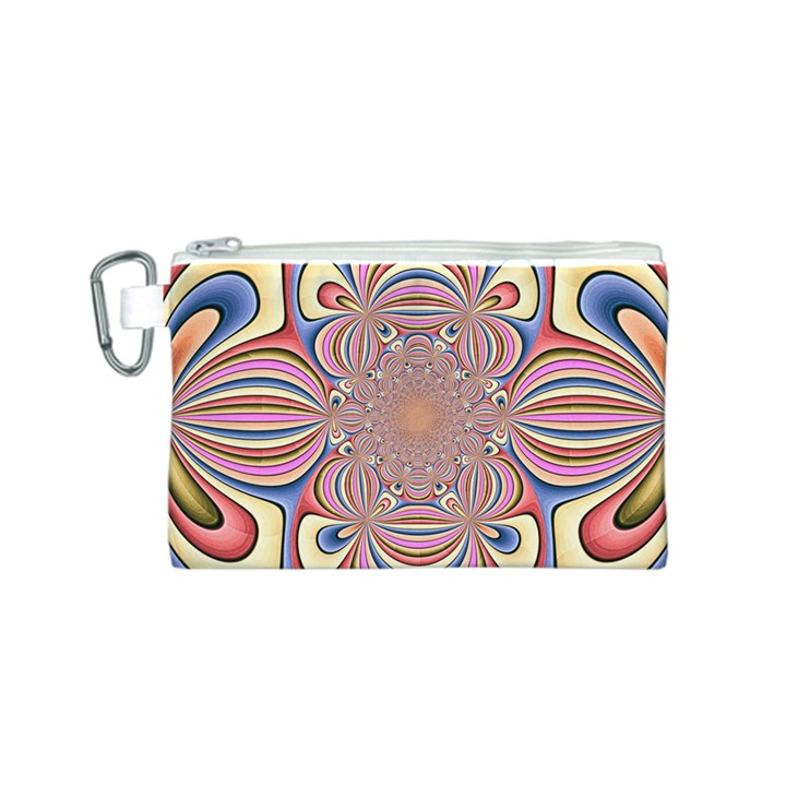 Pastel Shades Ornamental Flower Canvas Cosmetic Bag (S)