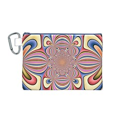 Pastel Shades Ornamental Flower Canvas Cosmetic Bag (m)