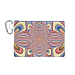 Pastel Shades Ornamental Flower Canvas Cosmetic Bag (M) Front