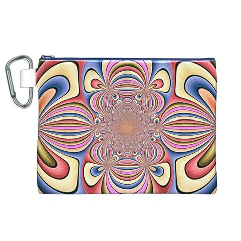 Pastel Shades Ornamental Flower Canvas Cosmetic Bag (XL)