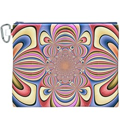 Pastel Shades Ornamental Flower Canvas Cosmetic Bag (XXXL)