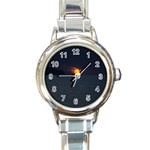 Sunset Ocean Azores Portugal Sol Round Italian Charm Watch Front
