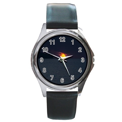 Sunset Ocean Azores Portugal Sol Round Metal Watch