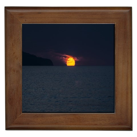 Sunset Ocean Azores Portugal Sol Framed Tiles