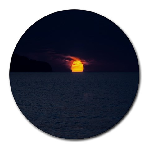 Sunset Ocean Azores Portugal Sol Round Mousepads