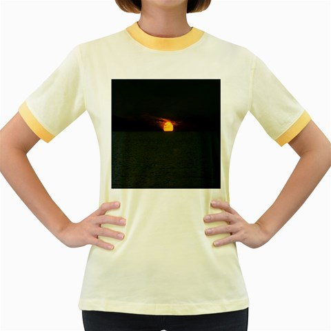 Sunset Ocean Azores Portugal Sol Women s Fitted Ringer T-Shirts