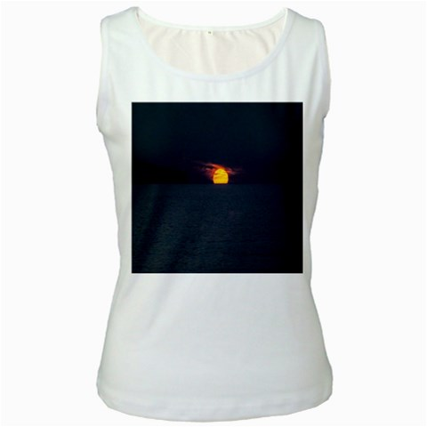 Sunset Ocean Azores Portugal Sol Women s White Tank Top