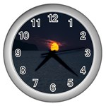 Sunset Ocean Azores Portugal Sol Wall Clocks (Silver)  Front