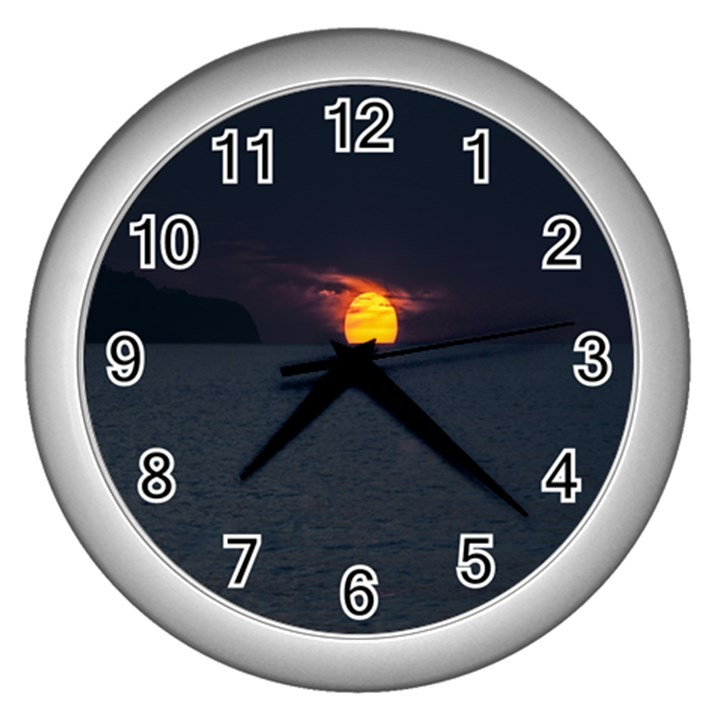 Sunset Ocean Azores Portugal Sol Wall Clocks (Silver)