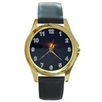 Sunset Ocean Azores Portugal Sol Round Gold Metal Watch Front