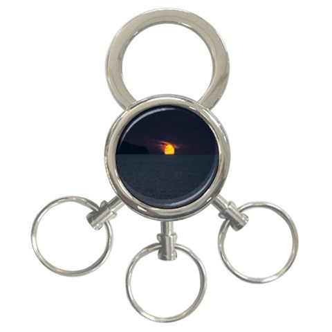 Sunset Ocean Azores Portugal Sol 3-Ring Key Chains