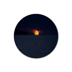 Sunset Ocean Azores Portugal Sol Rubber Coaster (Round)