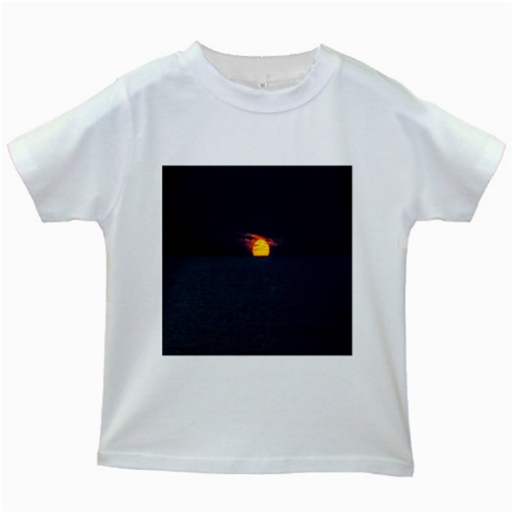 Sunset Ocean Azores Portugal Sol Kids White T-Shirts