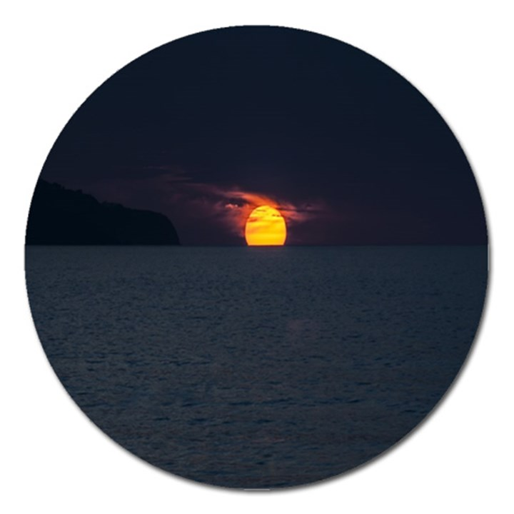 Sunset Ocean Azores Portugal Sol Magnet 5  (Round)