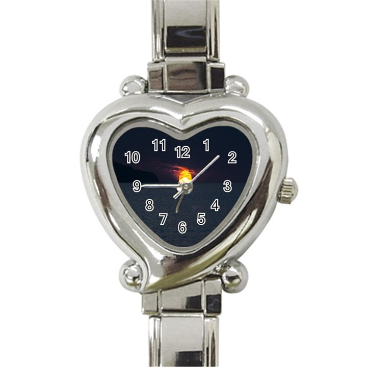 Sunset Ocean Azores Portugal Sol Heart Italian Charm Watch