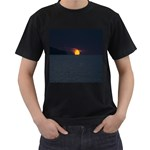 Sunset Ocean Azores Portugal Sol Men s T-Shirt (Black) (Two Sided) Front