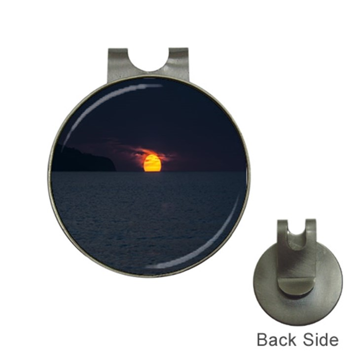Sunset Ocean Azores Portugal Sol Hat Clips with Golf Markers