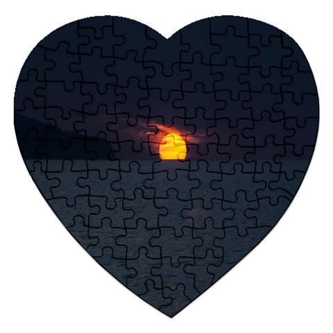 Sunset Ocean Azores Portugal Sol Jigsaw Puzzle (Heart)